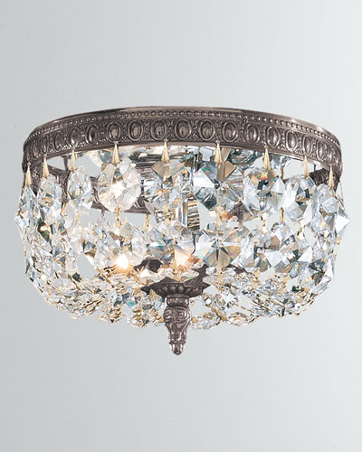 2-Light Clear Italian Crystal Bronze Ceiling Mount