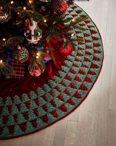 Sudha Pennathur Red Velvet Christmas Tree Skirt