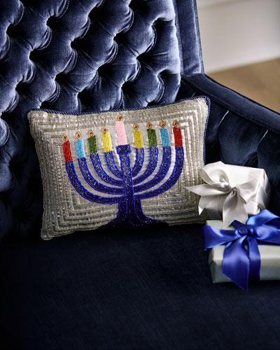 Menorah Beaded Pillow