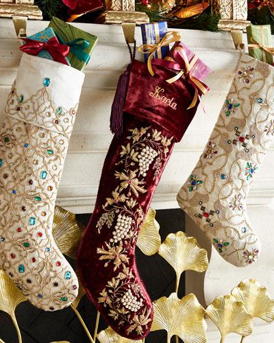 Burgundy Velvet Stocking