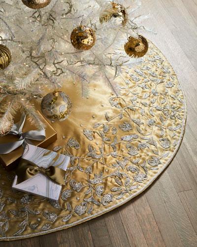 Beaded Gold Tissue Tree Skirt