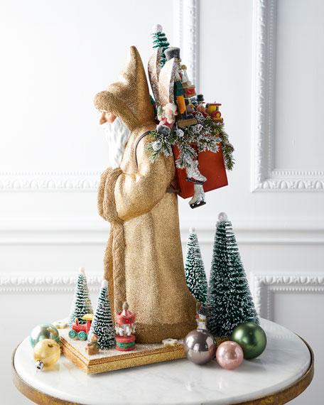 Ino Schaller Large Santa Statue in Gold Coat
