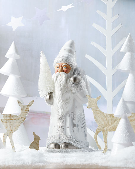 Ino Schaller White Santa Figure with Painted Winter Scene