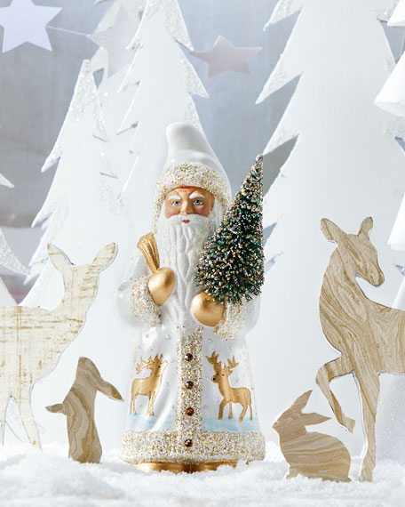 Ino Schaller White Santa with Golden Deer Figurine