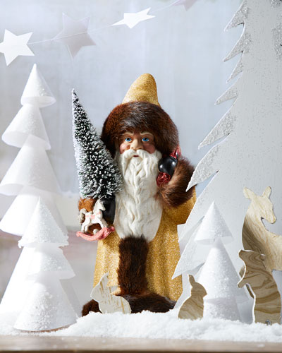 Gold Glitter Fur Trim Santa