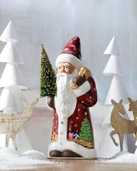 Ino Schaller Burgundy & Crystal Santa Figurine