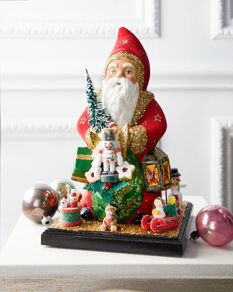 Ino Schaller Santa with Toys & Gifts Paper Mache Figurine