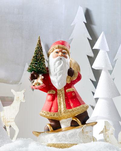 Skiing Santa Paper Mache Figure