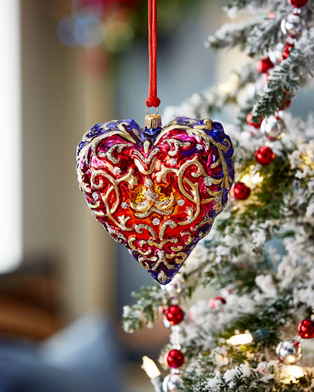 Carved Heart Christmas Ornament