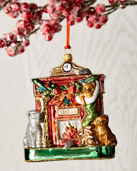 Fireplace With Animals Christmas Ornament