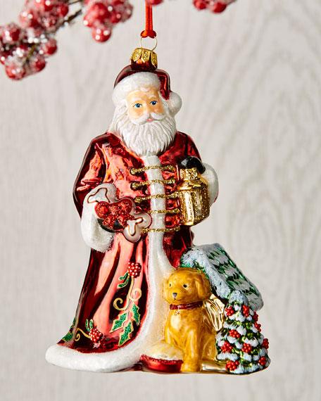 Santa With Dog Christmas Ornament