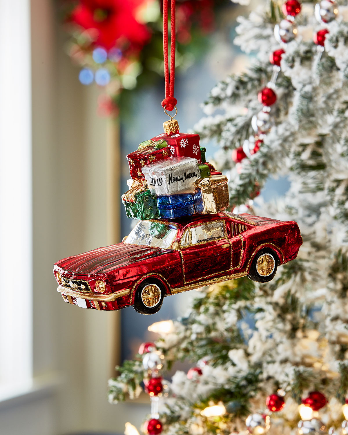 Christmas Sports Car.Sports Car With Packages Christmas Ornament