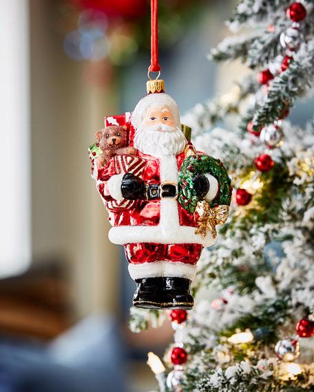Santa With Bear And Wreath Christmas Ornament