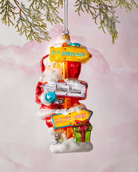 Santa With Road Signs Christmas Ornament