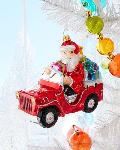 Santa In Car Christmas Ornament