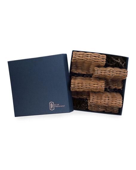 Blue Pheasant Gibson Honey Rattan Card Holders, Set of 4