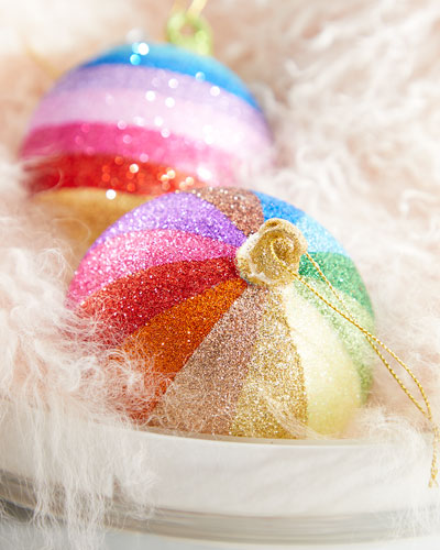 Striped Glitter Rainbow Ball Ornament