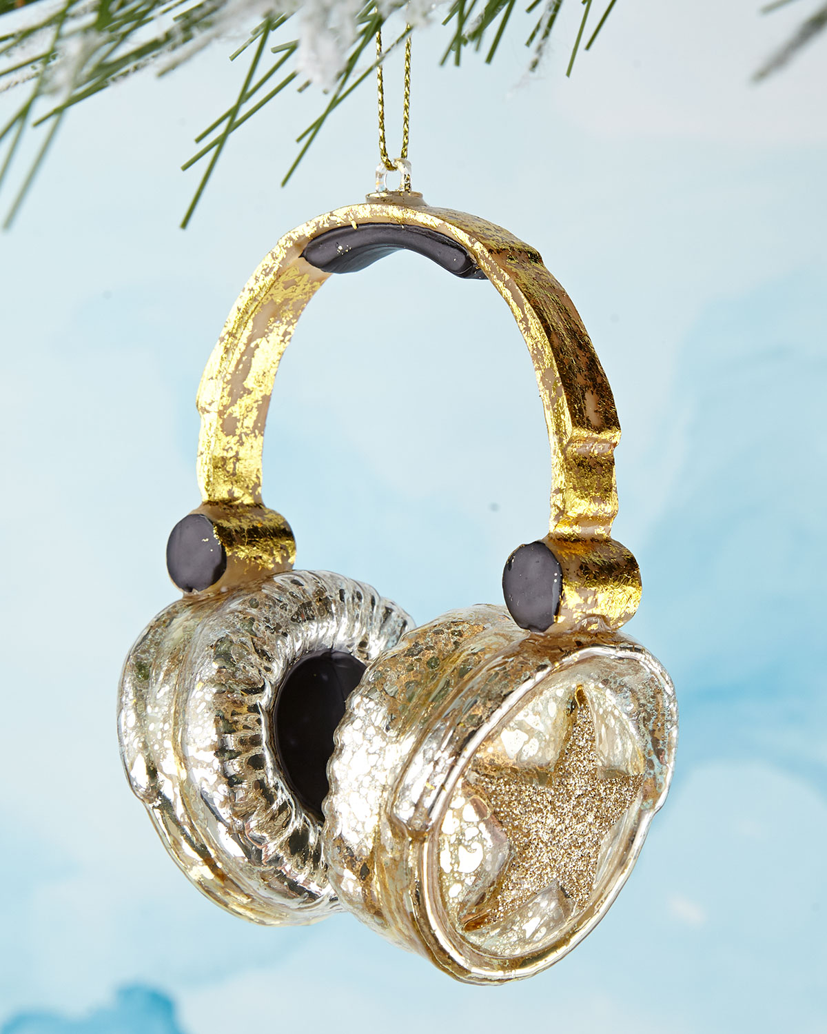 Gold Headphones Christmas Ornament by Cody Foster & Co