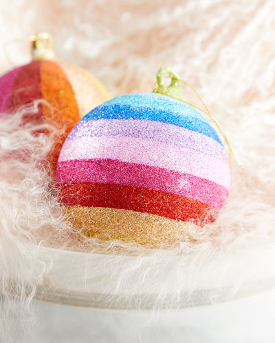 Horizontal Striped Glitter Rainbow Ball Ornament