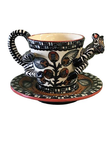 Ardmore Ceramic Art Zebra Espresso Cup and Saucer