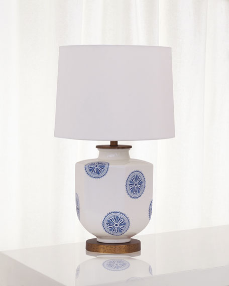 Image 2 of 2: Port 68 Temba Table Lamp, Blue/White
