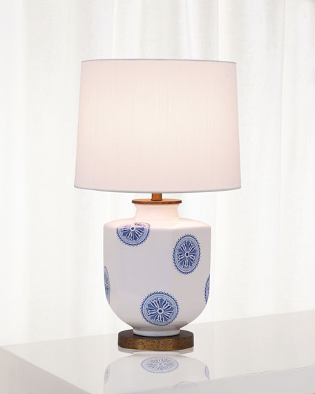 Image 1 of 2: Port 68 Temba Table Lamp, Blue/White