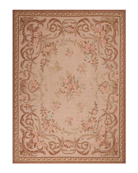 NourCouture Aubusson Hand-Knotted Warm Beige Rug, 8.8' x 11.8'
