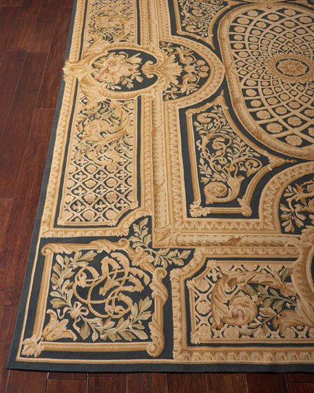 NourCouture Aubusson Hand-Knotted Ebony Rug, 8.6' x 11.6'