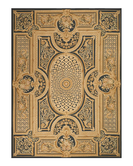 NourCouture Aubusson Hand-Knotted Ebony Rug, 9.9' x 13.9'
