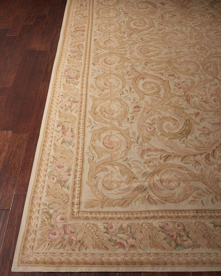 Nourison Aubusson Hand-Knotted Golden Beige Rug, 9.9' x 13.9'