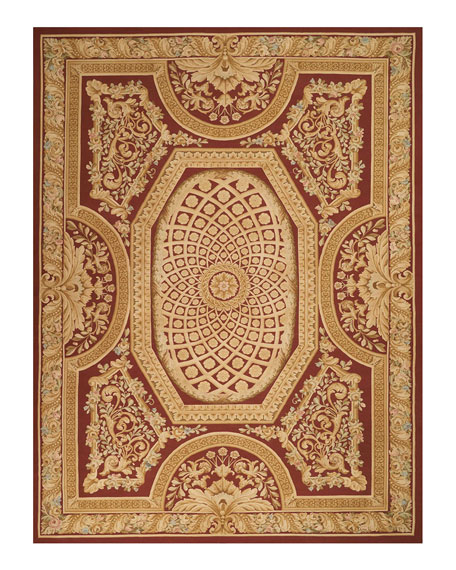 Image 2 of 2: NourCouture Aubusson Hand-Knotted Burgundy & Gold Rug, 9.9' x 13.9'