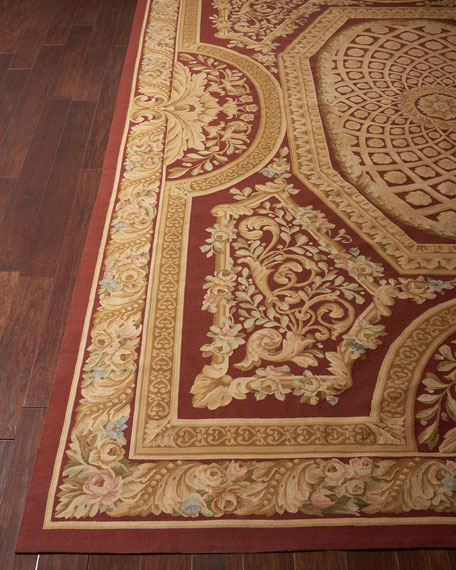 Image 1 of 2: NourCouture Aubusson Hand-Knotted Burgundy & Gold Rug, 9.9' x 13.9'