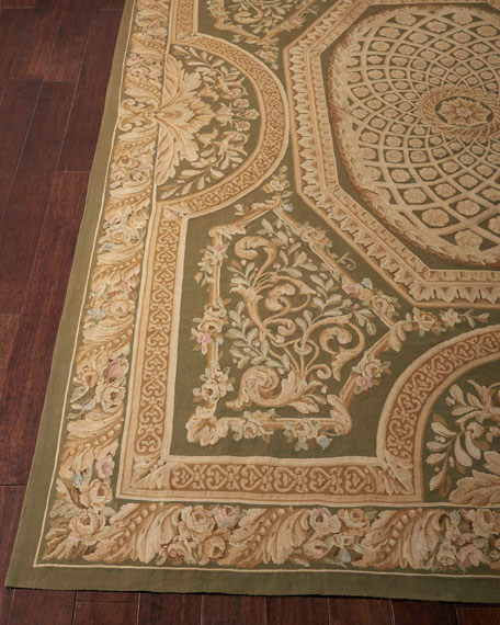 Nourison Aubusson Hand-Knotted Olive Rug, 8.6' x 11.6'