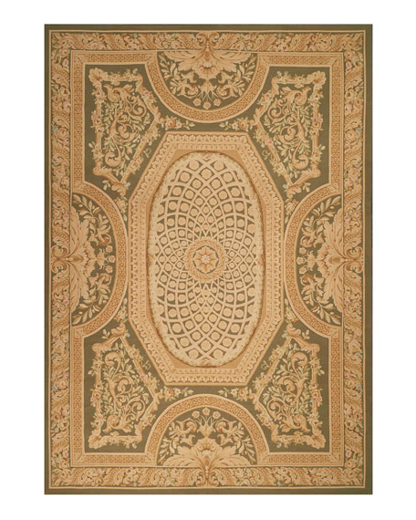 Nourison Aubusson Hand-Knotted Olive Rug, 9.7' x 13.6'