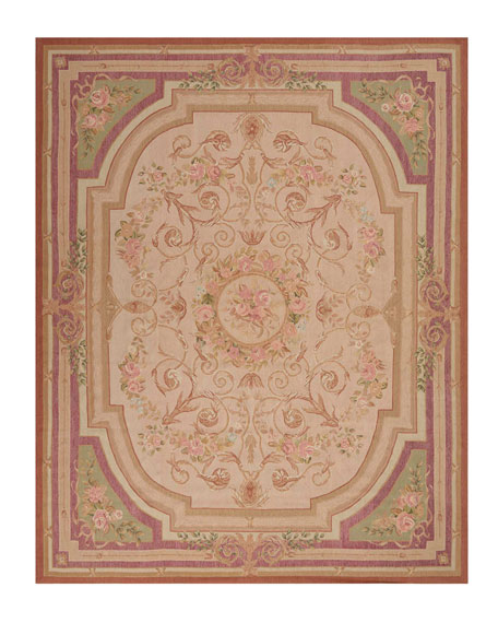 Nourison Aubusson Hand-Knotted Luminous Gold Rug, 7.9' x 9.1'