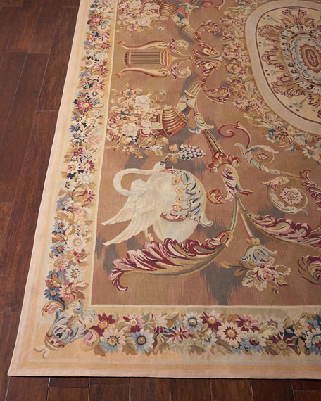 Nourison Aubusson Hand-Knotted Burnished Gold Rug, 10.8' x 10.9'