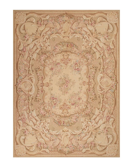 Nourison Aubusson Hand-Knotted Antiqued Rose Rug, 8.5' x 11.5'