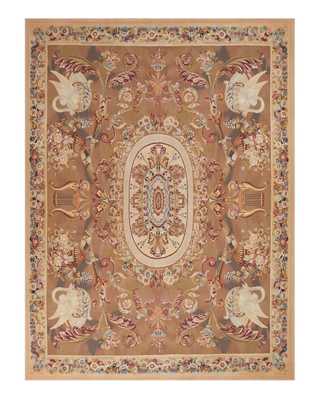 Nourison Aubusson Hand-Knotted Burnished Gold Rug, 8.1' x 12.3'