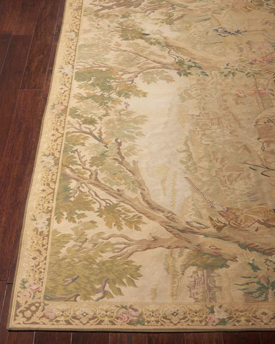 Aubusson Hand-Knotted Golden Tapestry Rug  5.1' x 8.1'