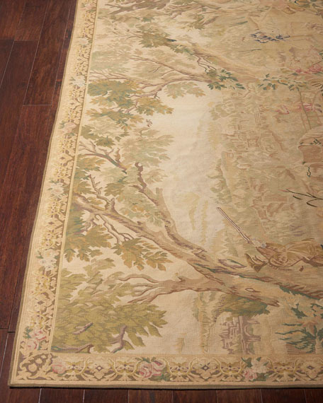 Nourison Aubusson Hand-Knotted Golden Tapestry Rug, 5.1' x 8.1'