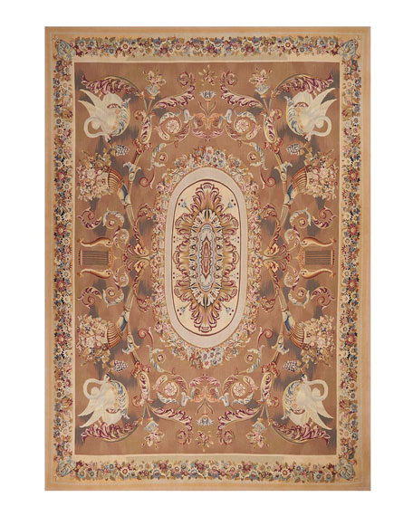Nourison Aubusson Hand-Knotted Burnished Gold Rug, 9.1' x 14.6'