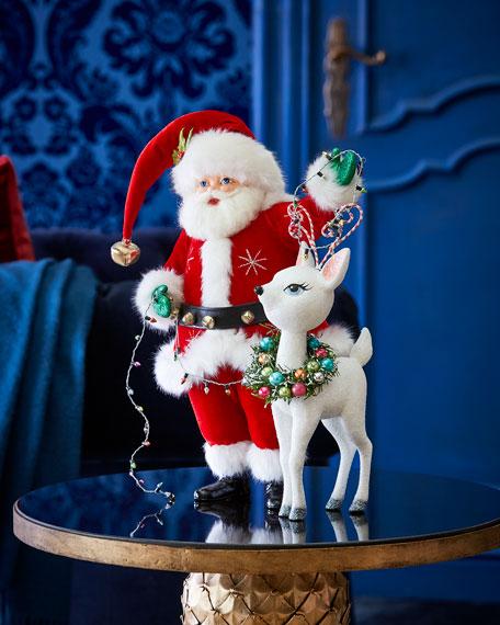 Katherine's Collection Mistletoe Santa with Reindeer Figure