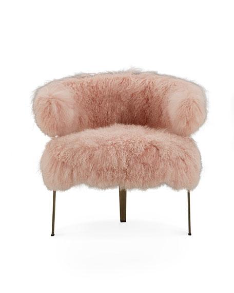 Interlude Home Darcy Blush Sheepskin Chair
