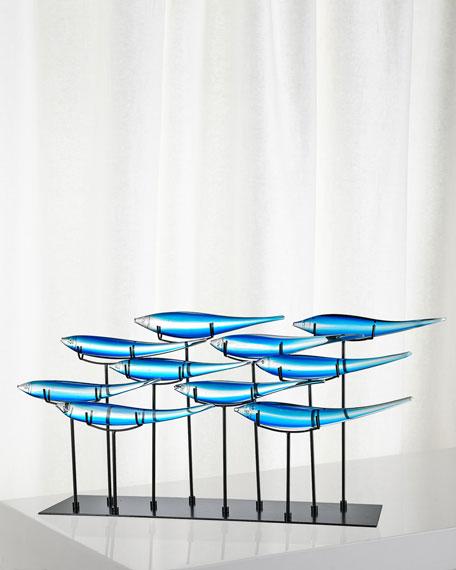 Dale Tiffany Decorative 10 Blue Fish Art Glass Sculpture