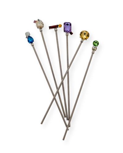 Jewel Swizzle Sticks, Set of 6