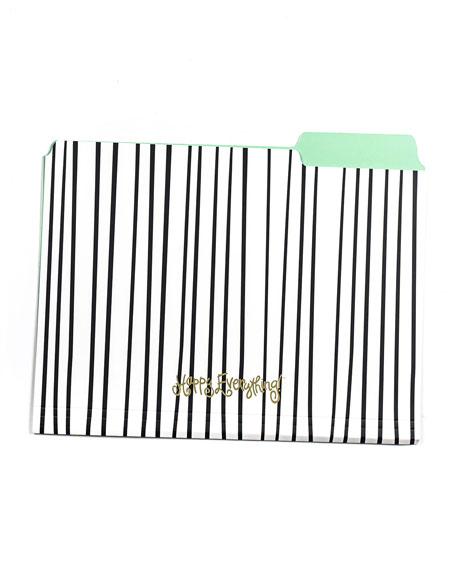 Coton Colors Black Stripe Happy Everything File Folders, Set of 6