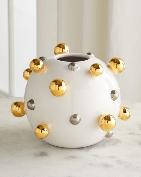 Dolfi Round Vase with Golden & Silver Buttons