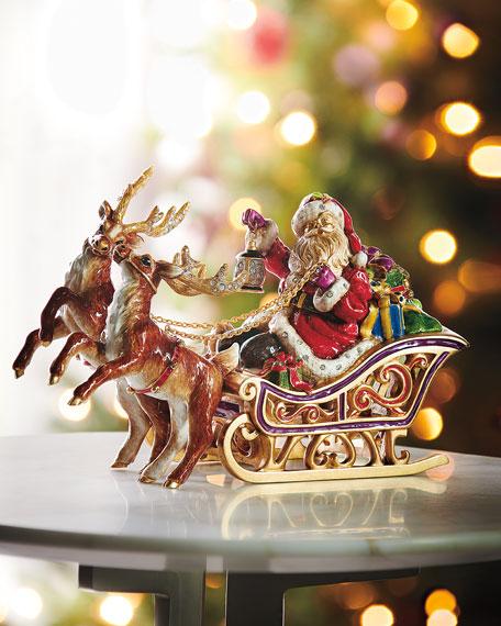 Jay Strongwater Santa and Reindeer Musical Sleigh Christmas Decor