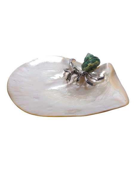 Lotus Arts de Vivre Mother of Pearl Plate with Hermit Crab