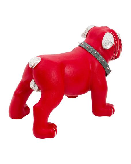Lotus Arts de Vivre Red Leather Bulldog Stool